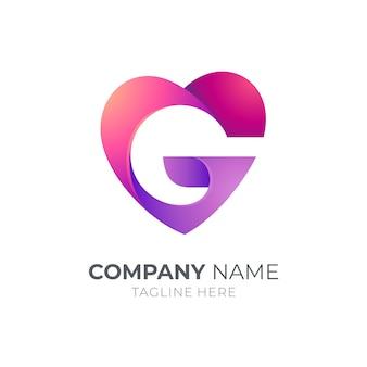 Modello di progettazione di logo di lettera g di amore
