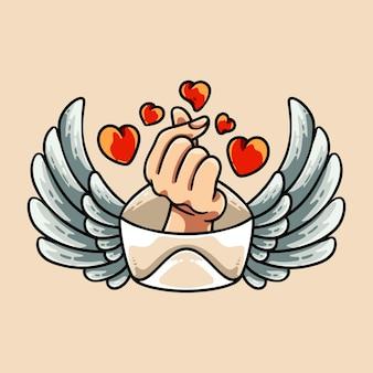 Illustrazione del segno della mano della lettera d'amore