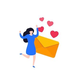 Lettera d'amore e ragazza felice, vettore