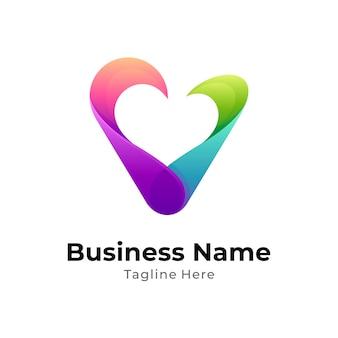 Modello di concetto di amore lettera v logo