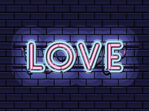 Amore scritte in caratteri al neon di colore rosa e blu su disegno di illustrazione blu scuro