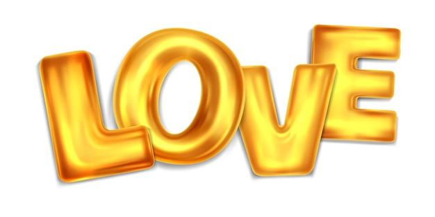 Lettere d'amore in lettere d'oro isolate su bianco