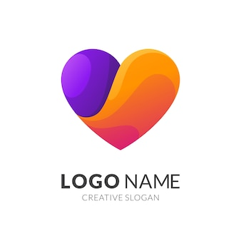Concetto di logo di amore, stile logo moderno in sfumature di colore arancione e viola