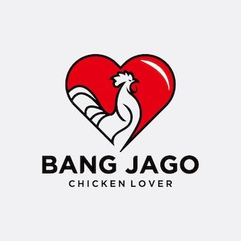 Logo di amore gallo, gallo, illustrazione vettoriale astratta, logo, icona. modello di progettazione del logo di pollo, logo design per gli amanti del gallo