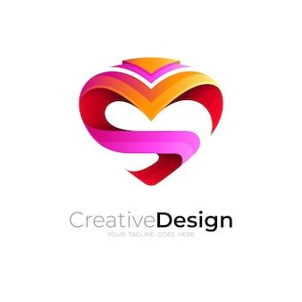 Love logo e combinazione di logo s.