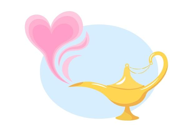 Lampada magica d'amore. la lampada del genio d'oro di aladino e il fumo rosa a forma di cuore in stile cartone animato