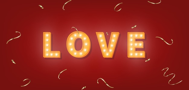 Testo di marquee di amore con coriandoli d'oro. modello di lampadina per san valentino.