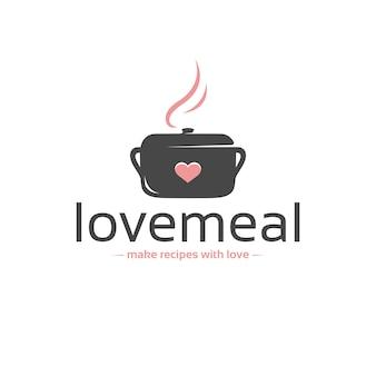 Modello di logo di vettore del pasto di amore