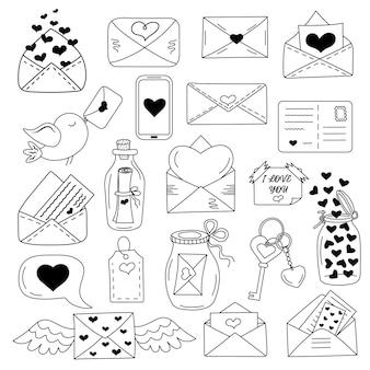 Messaggi d'amore, buste con set di icone a forma di cuore in stile scarabocchio. buon san valentino, simbolo di amore semplice romanticismo, icona.