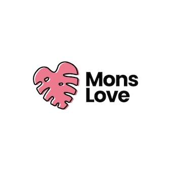 Amore monstera deliziosa forma di cuore logo icona illustrazione vettoriale