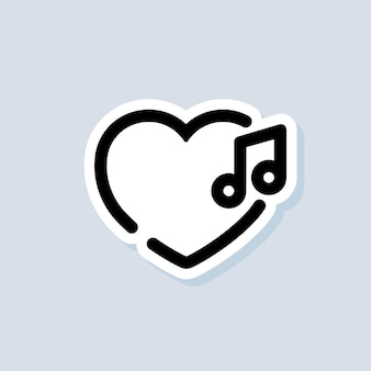 Amo la musica adesivo, logo, icona. vettore. canzoni. lettore musicale. logo della playlist. vettore su sfondo isolato. eps 10