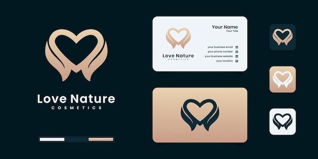 Amore naturale o foglia combinata a cuore. modelli di progettazione del logo della natura.