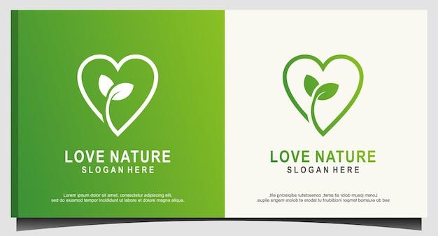 Amo il logo della foglia della pianta della natura