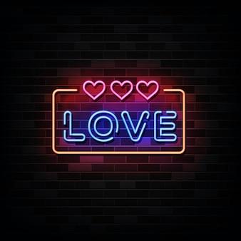Insegne al neon di amore. modello in stile neon