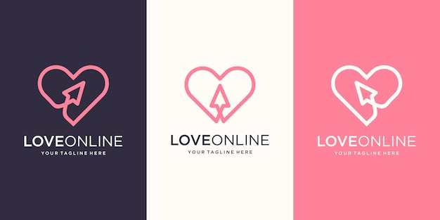 Love online, cursore combinato con disegni al tratto del cuore, logo design template