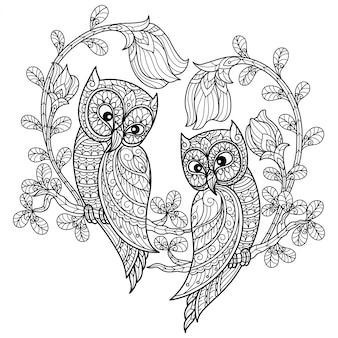 Amore per i gufi. illustrazione di schizzo disegnato a mano per libro da colorare per adulti