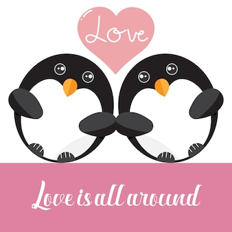 Amo le coppie di pinguino con il cuore