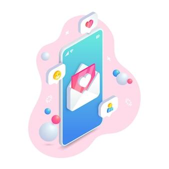 Concetto isometrico del messaggio di telefono di amore.