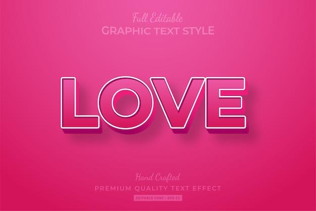 Amore rosa modificabile effetto stile testo 3d