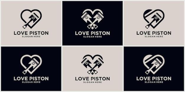 Simbolo del logo automobilistico del logo della tecnologia del pistone dell'amore illustrazione vettoriale del pistone del logo del pistone di ricambio