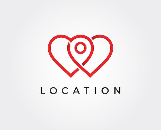 Modello di logo del marchio di posizione del punto d'amore