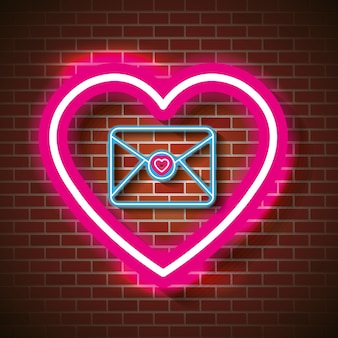 Ami il manifesto con progettazione dell'illustrazione di vettore delle luci al neon