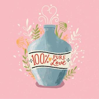 Bottiglia di pozione d'amore con scritte a mano. illustrazione disegnata a mano colorata per happy valentines day. biglietto di auguri con fogliame ed elementi decorativi.