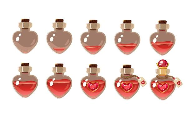 Pozione d'amore . icona del gioco dell'elisir magico. disegno vettoriale per l'interfaccia utente dell'app. bottiglie a cuore con diverso livello di liquido. isolato su sfondo bianco.