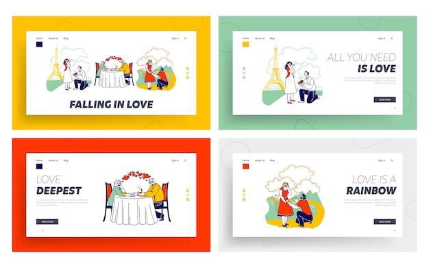 Insieme di modelli di pagina di destinazione di amore e proposta