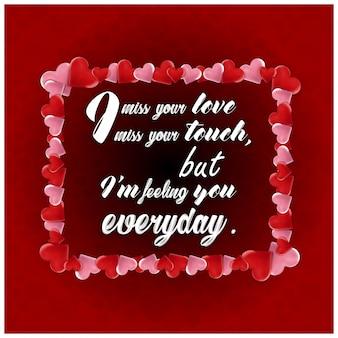 L'amore cita la priorità bassa rossa della scheda tipografica