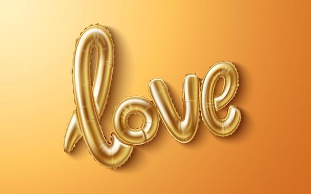 Palloncino di gomma realistico di amore su fondo oro