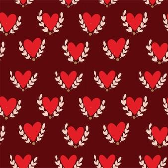 Amore. reticolo senza giunte di concetto romantico con cuori e ramoscelli.