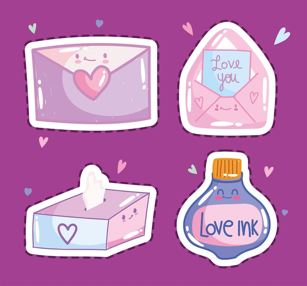 Ami il messaggio romantico della lettera della posta della busta nelle icone di progettazione di stile del fumetto