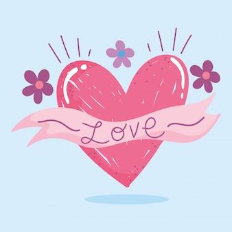Amo i fiori romantici e il disegno di carta del fumetto della decorazione dell'iscrizione del cuore