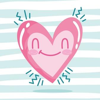 Amore romantico cuore felice cartone animato strisce sfondo design