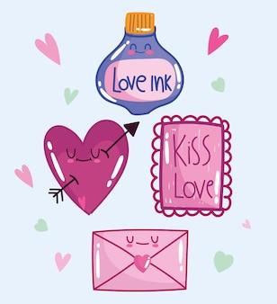 Amo la lettera e l'inchiostro del messaggio del cuore romantico nel design in stile cartone animato