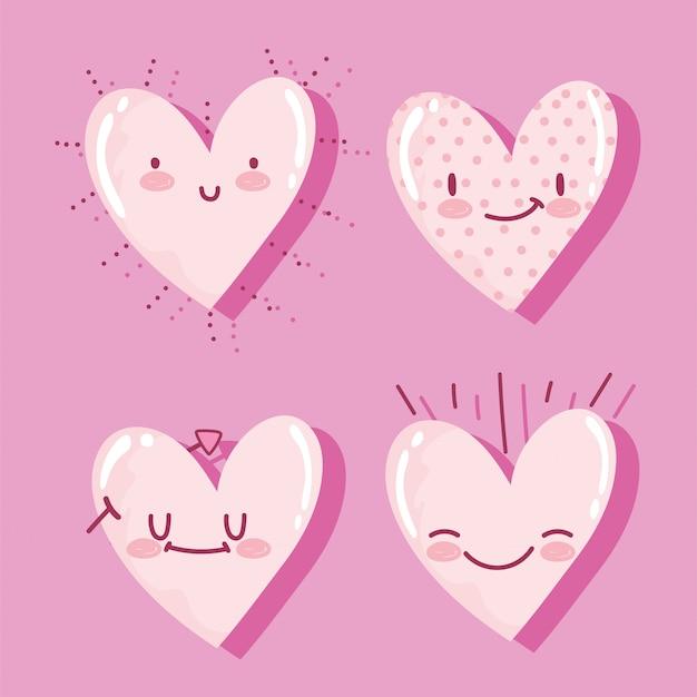 Fondo romantico di rosa delle icone di espressione felice del fumetto dei cuori di amore