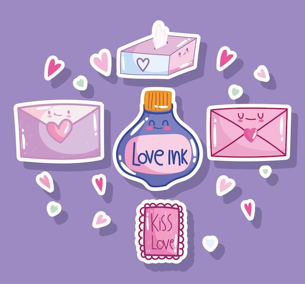 Amo i cuori romantici della carta della posta della busta della lettera del messaggio nel disegno di stile del fumetto
