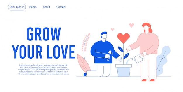 Amore relazione romantica, beneficenza atti landing page