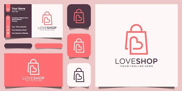 Love shop logo design template, borsa combinata con il concetto di cuore.