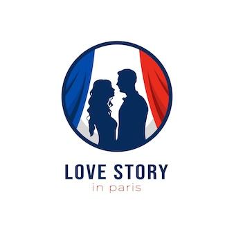 Storia d'amore nel design del logo di parigi