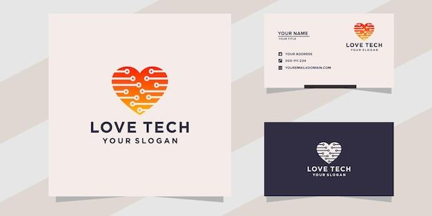 Modello di logo di tecnologia d'amore