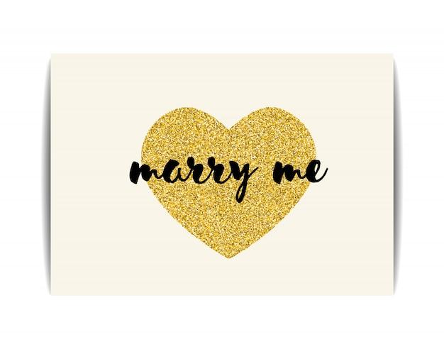 Modello di amore con cuore glitter oro e testo marry me