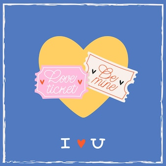 Amore biglietti a forma di cuore giallo isolato sull'azzurro