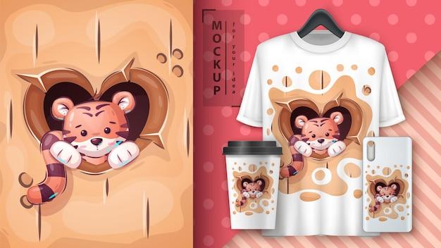 Poster di amore tigre e merchandising vector eps 10