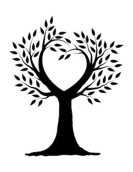 Disegno dell'illustrazione dell'albero dell'amore in bianco e nero