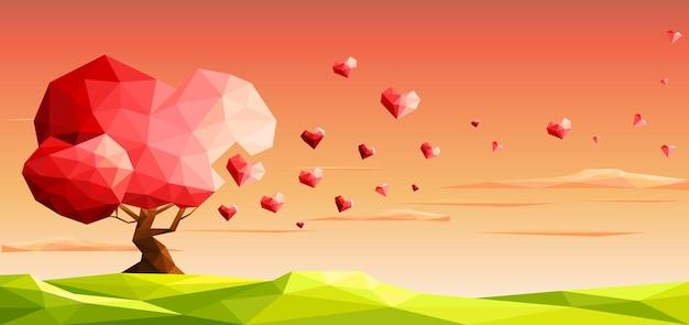 Amore albero con foglie di cuore il giorno di san valentino
