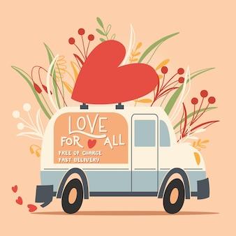 Ami il veicolo del camion con un cuore e un messaggio di amore. illustrazione disegnata a mano colorata con scritte a mano per happy valentines day. biglietto d'auguri.