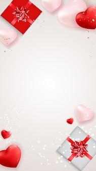 Amo il giorno di san valentino sfondo con scatole regalo e cuori.