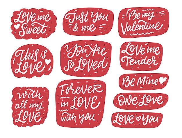 Frasi di calligrafia di amore e san valentino nel set di bolle